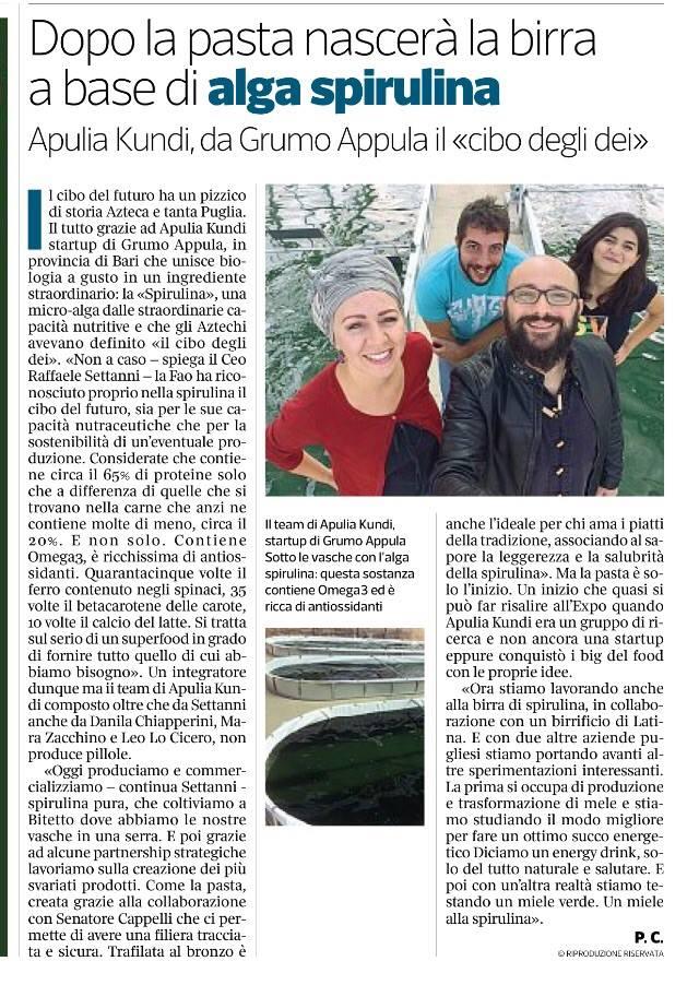 Corriere della Sera racconta ApuliaKundi e alga spirulina